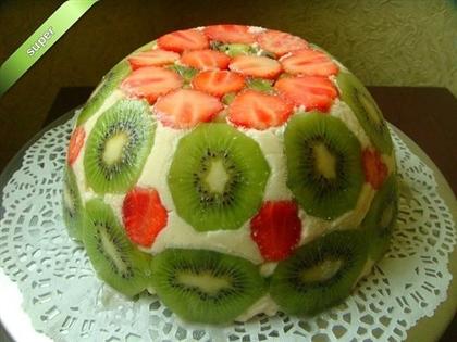 Лёгкий летний торт с клубникой и киви